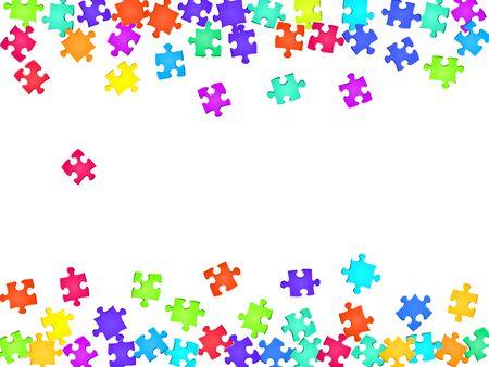 Gioco enigma puzzle arcobaleno colori pezzi sfondo vettoriale. Vista dall'alto dei pezzi del puzzle isolati su bianco. Concetto astratto di strategia. ClipArt di pezzi di puzzle. Vettoriali