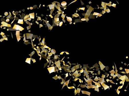 Gold glitter realistic confetti flying on black holiday vector graphics. Trendy flying tinsel elements, gold foil texture serpentine streamers confetti falling christmas vector.