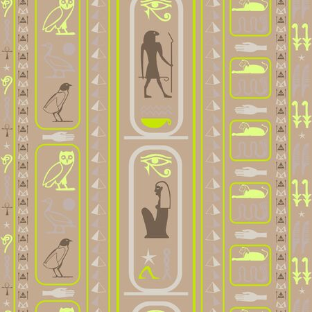 Colorful egypt writing seamless background. Hieroglyphic egyptian language symbols template. Repeating ethnical fashion pattern for advertising. Illusztráció