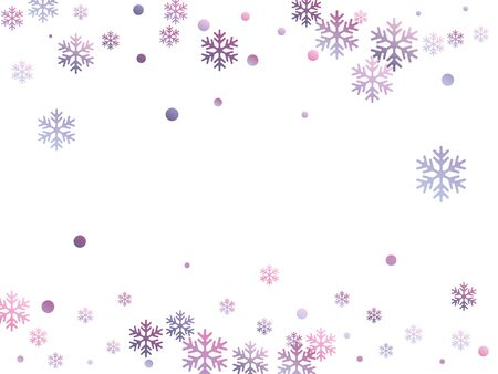 Winter snowflakes and circles border vector backdrop. Unusual gradient snow flakes isolated banner background. New Year card border holiday pattern with cute snowflake elements isolated.