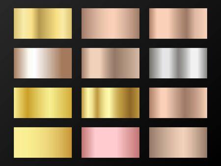 Trendy golden, silver, bronze, pink gold gradients. Metallic foil texture silver, steel, chrome, platinum, copper, bronze, aluminum, pink gold gradient swatches. Shiny metallic swatch templates.