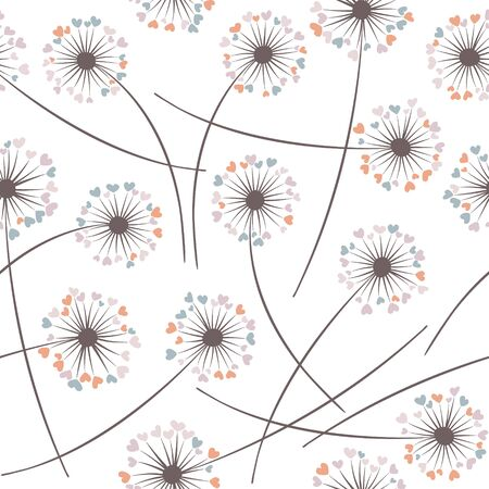 Dandelion blowing plant vector floral seamless pattern. Lovely flowers with heart shaped fluff flying. Vector dandelion herbs meadow flowers floral background. Meadow blossom fabric print graphics.