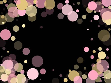 Pink gold confetti circle decoration for Christmas card. Bokeh lights effect vector. Gold, pink and rose color round confetti dots, circles scatter on black. Glamourous bokeh background.