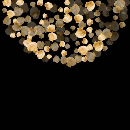 Gold seashells vector, golden pearl bivalved mollusks. Oceanic scallop, bivalve pearl shell, marine mollusk isolated on black wild life nature background. Rich gold sea shell design.