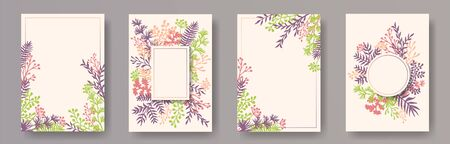 Tropical herb twigs, tree branches, leaves floral invitation cards collection. Plants borders natural cards design with dandelion flowers, fern, mistletoe, eucalyptus leaves, sage twigs.