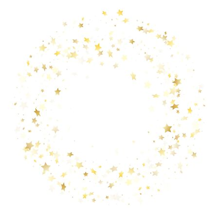 Magic gold sparkle texture vector star background. Shiny gold falling magic stars on white background sparkle pattern graphic design. New Year starburst flying backdrop.