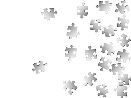 Abstract enigma jigsaw puzzle metallic silver parts vector illustration. Scatter of puzzle pieces isolated on white. Success abstract concept. Jigsaw gradient plugins.