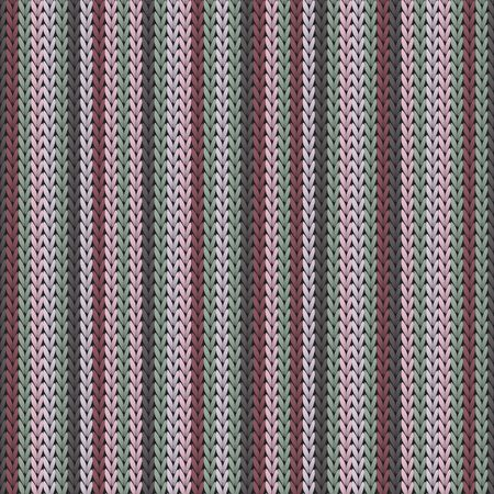 Trendy vertical stripes knitting texture geometric vector seamless. Plaid knitwear fabric print. Norwegian style seamless knitted pattern. Cozy textile print design. Ilustrace