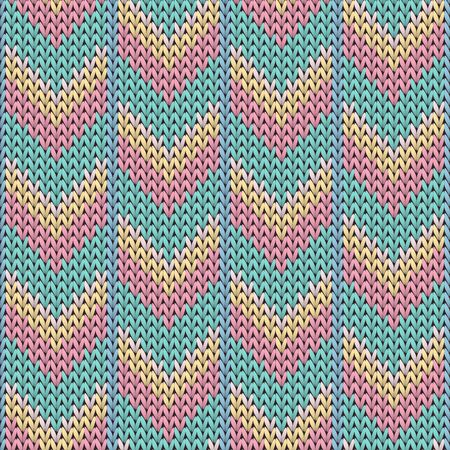 Stylish downward arrow lines knitted texture geometric vector seamless. Scarf knit tricot fabric print. Nordic style seamless knitted pattern. Handicraft backdrop. Ilustracje wektorowe