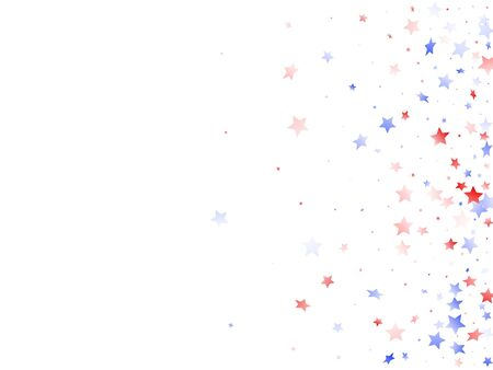American Independence Day stars background. Holiday confetti in US flag colors for President Day. Navy red blue white stars on white American patriotic vector. Fourth of July stardust scatter. 矢量图像