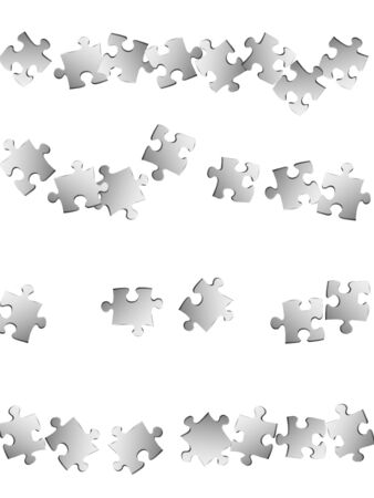 Game tickler jigsaw puzzle metallic silver parts vector illustration. Top view of puzzle pieces isolated on white. Cooperation abstract concept. Kids building kit pattern. Çizim