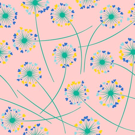 Cute dandelion blowing vector floral seamless pattern. Lovely flowers with heart shaped fluff flying. Dandelion herbs meadow flowers floral pattern design. Meadow blossom textile print graphics. Ilustracja