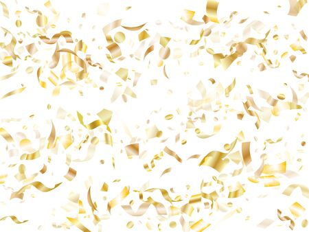 Gold shining realistic confetti flying on white holiday banner background. Cool flying tinsel elements, gold foil gradient serpentine streamers confetti falling christmas vector.