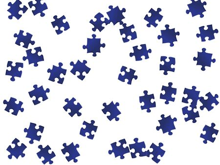 Abstract teaser jigsaw puzzle dark blue parts vector illustration. Top view of puzzle pieces isolated on white. Cooperation abstract concept. Game and play symbols. 일러스트