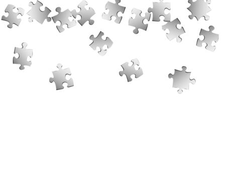 Business teaser jigsaw puzzle metallic silver parts vector illustration. Scatter of puzzle pieces isolated on white. Challenge abstract concept. Game and play symbols.