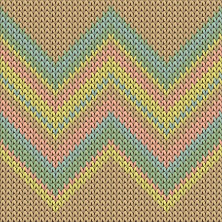 Clothing zig zag lines knit texture geometric seamless pattern. Jacquard knit effect ornament. Norwegian style seamless knitted pattern. Repeatable background. Ilustrace