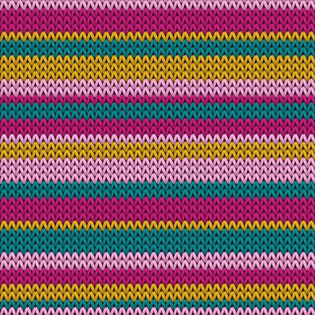 Modern horizontal stripes knitting texture geometric seamless pattern. Pullover hosiery textile print. Norwegian style seamless knitted pattern. Repeatable background. Ilustrace