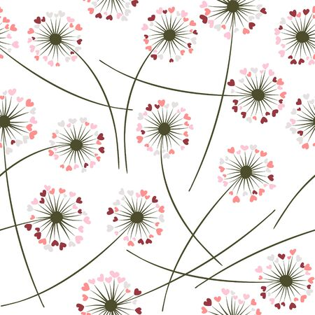 Dandelion blowing plant vector floral seamless pattern. Lovely flowers with heart shaped petals. Dandelion herbs meadow flowers floral pattern design. Meadow blossom fabric print graphics.
