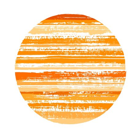 Abrupt circle vector geometric shape with striped texture of ink horizontal lines. Disk banner with old paint texture. Badge round shape circle element with grunge background of stripes. 向量圖像