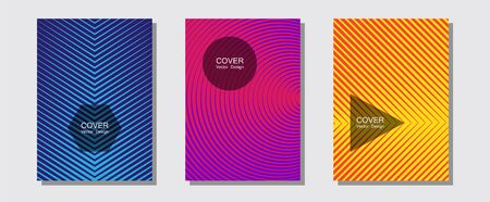 Brochure covers, posters, banners vector templates. Modern branding. Halftone lines music poster background. Stylish print pages. Geometric graphic design for booklet brochure covers. Illusztráció