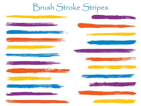 Vintage violet ink brush stroke stripes vector set, horizontal marker or paintbrush lines patch. Hand drawn watercolor paint brushes, smudge strokes collection. Color combinations catalog elements.