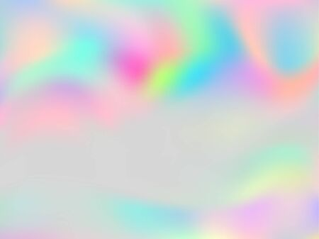 Blurred hologram texture gradient wallpaper. Digital pastel rainbow unicorn background. Liquid colors explosion background. Lucid hologram neon glitch texture vector backdrop.