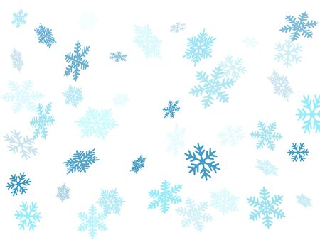 Snow flakes falling macro vector illustration, christmas snowflakes confetti falling scatter backdrop. Winter snow shapes decor. Motion flakes falling and flying winter seasonal weather vector.