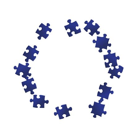 Business mind-breaker jigsaw puzzle dark blue pieces vector background. Scatter of puzzle pieces isolated on white. Cooperation abstract concept. Kids building kit pattern.