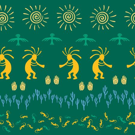 Native american indian vector ethnic tribal motifs seamless pattern. Traditional design with trickster god, swirl icons on human palm, sun, eagle. Navajo indian creative batik pattern.