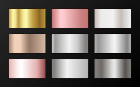 Trendy golden, platinum, bronze, rose gold gradients. Metallic foil texture silver, steel, chrome, platinum, copper, bronze, aluminum, pink gold gradient swatches.  Stylish metallic swatches set.