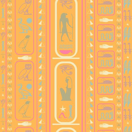 Antique egypt writing seamless pattern. Hieroglyphic egyptian language symbols grid. Repeating ethnical fashion background for advertising. Ilustração