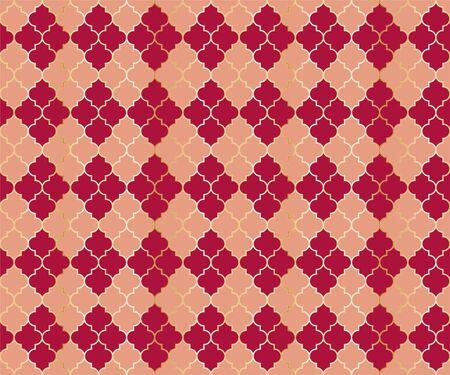 Arabic Mosque Vector Seamless Pattern. Argyle rhombus muslim fabric background. Traditional mosque pattern with gold grid. Stylish islamic argyle seamless design of lantern lattice shape tiles. Ilustração