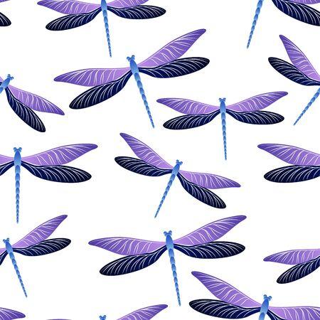 Libelle charmantes nahtloses Muster. Sommerkleidung Stoffdruck mit Damselfly Insekten. Grafische Wasserlibelle-Vektor-Illustration. Naturwesen nahtlos. Damselfly-Silhouetten.