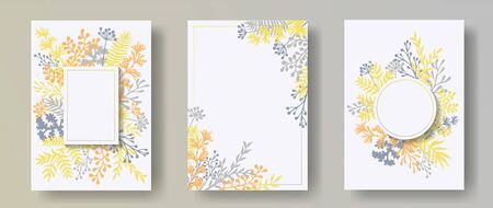 Botanical herb twigs, tree branches, flowers floral invitation cards set. Herbal frames natural cards design with dandelion flowers, fern, lichen, eucalyptus leaves, sage twigs. Illusztráció