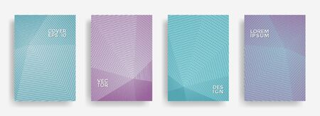 Colorful annual report design vector collection. Halftone lines texture cover page layout templates set. Report covers graphic design, business brochure pages corporate templates.