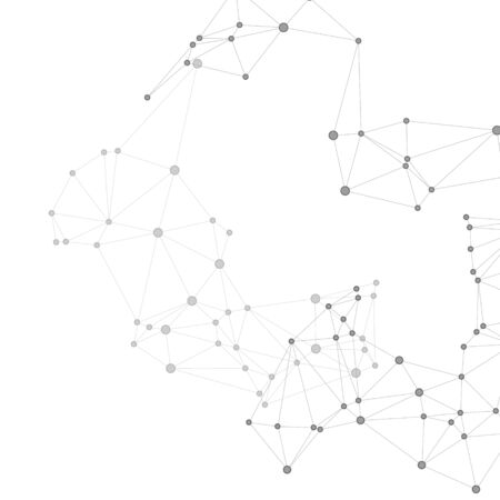 Block chain global network technology concept. Network nodes greyscale plexus background. Chemical formula abstraction. Nodes and lines polygonal connections. Global data exchange blockchain vector.