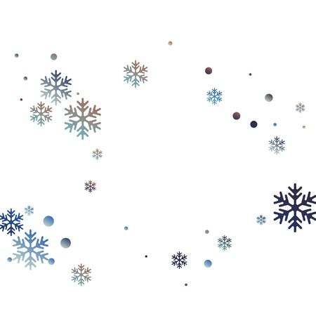 Crystal snowflake and circle elements vector graphics. Chaotic winter snow confetti scatter banner background. Flying gradient snow flakes background, frosty water crystals confetti.