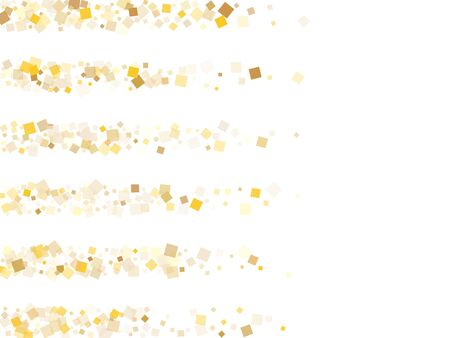 Trendy gold confetti sequins tinsels flying on white. Chic holiday vector sequins background. Gold foil confetti party glitter graphic design. Rhombus pieces party background. Illusztráció