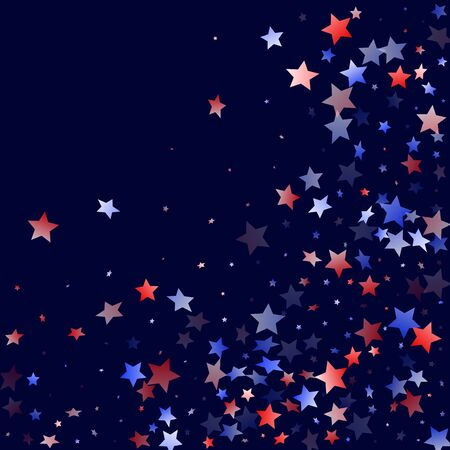 American Presidents Day stars background. Holiday confetti in USA flag colors for Patriot Day. Stylish red blue white stars on dark American patriotic vector. Fourth of July stardust scatter. 矢量图像