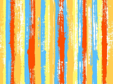 Watercolor strips seamless vector background. Decorative bright plaid ornament swatch. Vivid vertical lines stains vector graphics. Striped tablecloth textile print.