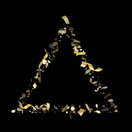 Gold glossy confetti flying on black holiday vector backdrop. Modern flying sparkle elements, gold foil texture serpentine streamers confetti falling new year background.