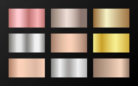 Trendy golden, silver, bronze, rose gold gradients. Metallic foil texture silver, steel, chrome, platinum, copper, bronze, aluminum, rose gold gradient swatches.  Shiny metallic swatches collection. Ilustrace