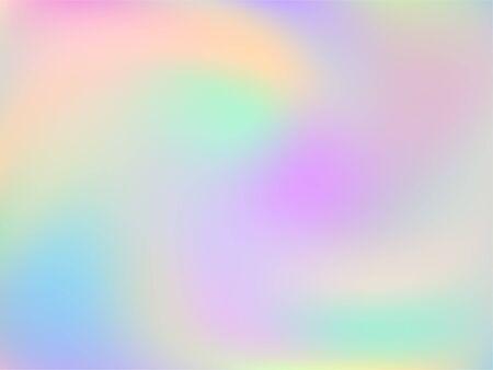 Holographic gradient neon vector illustration. Opalescence pastel rainbow unicorn background. Liquid colors splash background. Fashionable gradient neon holographic backdrop shimmer print.