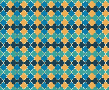 Moroccan Mosque Window Vector Seamless Pattern. Ramadan mubarak muslim background. Traditional ramadan mosque vector pattern with gold grid. Rich islamic window grid design of lantern shapes tiles.