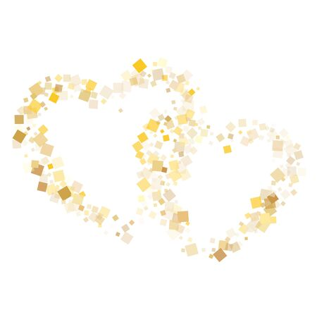 Yellow gold square confetti tinsels falling on white. Glittering New Year vector sequins background. Gold foil confetti party explosion illustration. Many particles surprise backdrop. 矢量图像