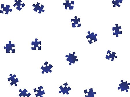 Business teaser jigsaw puzzle dark blue pieces vector background. Group of puzzle pieces isolated on white. Problem solving abstract concept. Kids building kit pattern.