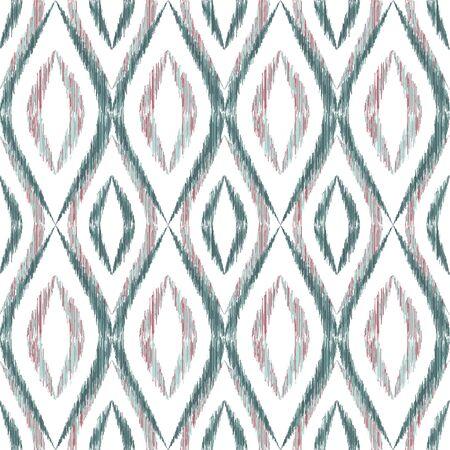 Ikat ogee seamless vector pattern illustration. Ethnic fabric print geometric ikat pattern. Simple ogee seamless repeating background. Tribal motifs ikat textile print design. Pillow ornament. Ilustração
