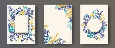 Hand drawn herb twigs, tree branches, flowers floral invitation cards set. Herbal corners vintage cards design with dandelion flowers, fern, mistletoe, eucalyptus leaves, sage twigs. Çizim