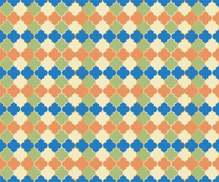 Arabic Mosque Window Vector Seamless Pattern. Ramadan mubarak muslim background. Traditional ramadan mosque pattern in gold grid borders. Islamic window grid design of lantern shapes tiles. 向量圖像