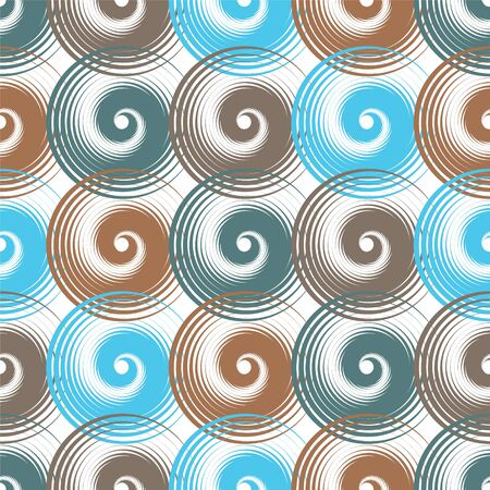 Spiral swirls blue brown complicated seamless pattern vector design. Round spiral scrolls, circle swirls geometric elements, curly vortex tiles. Cute swirl scrolls abstract background seamless pattern.